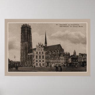 Póster Lugar grande de Mechelen Malines Grote Markt do
