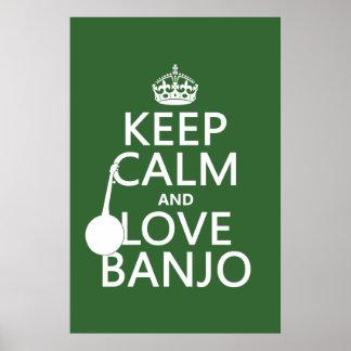 Póster Mantenha a calma e ame o banjo (alguma cor do