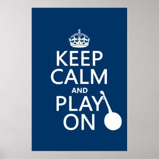 Póster Mantenha a calma e o jogo em (banjo) (alguma cor