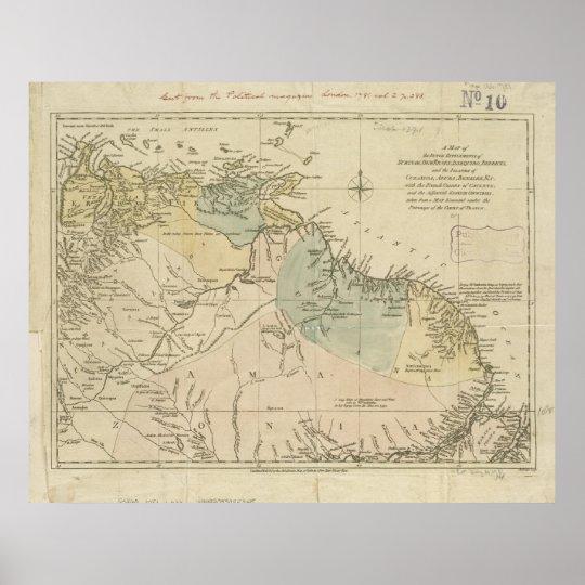 Poster Mapa antigo de Curaçau, Bonaire, Aruba, Suriname