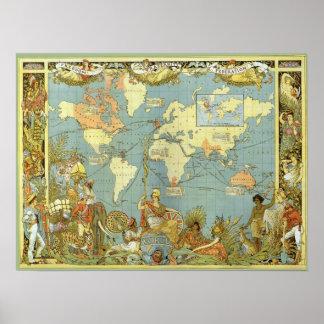 Poster Mapa do mundo antigo do Império Britânico, 1886