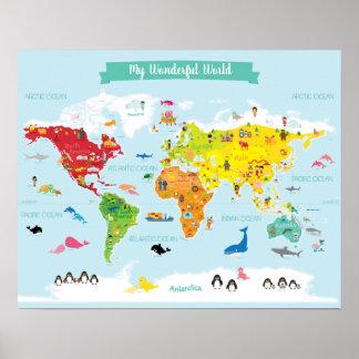 Poster Mapa do mundo brilhante dos miúdos com ilustrações
