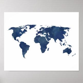 Póster Mapa do mundo da aguarela dos azuis marinhos