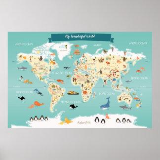 Poster Mapa do mundo das crianças com animais e marcos