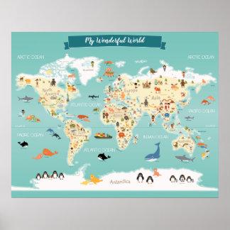 Póster Mapa do mundo das crianças com ilustrações