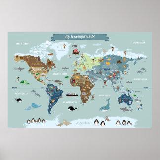 Poster Mapa do mundo das crianças com ilustrações bonitos