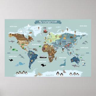 Póster Mapa do mundo das crianças com ilustrações bonitos