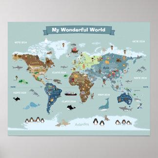 Póster Mapa do mundo dos miúdos com animais e marcos