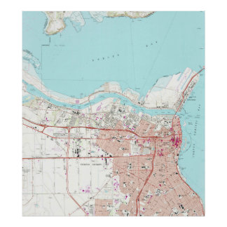 Póster Mapa do vintage de Corpus Christi Texas (1968)