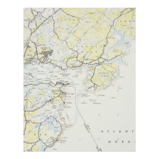 Poster Mapa do vintage de Kittery Maine (1944)
