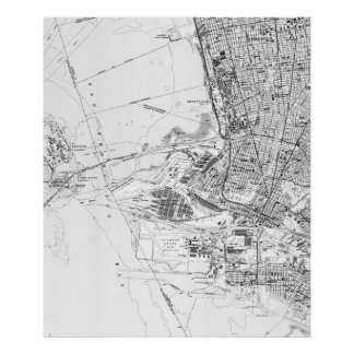 Póster Mapa do vintage de Oakland Califórnia (1959) BW