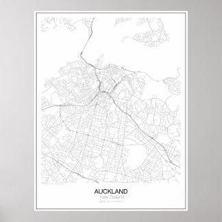 Póster Mapa minimalista de Auckland, Nova Zelândia