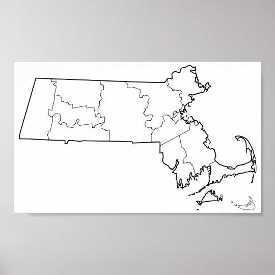 Póster Mapa vazio do esboço dos condados de Massachusetts