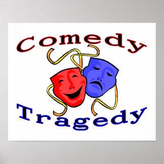 Poster Máscaras do teatro da tragédia da comédia