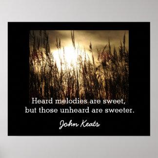 Póster Melodias inauditos - citações de John Keats -