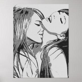 "Póster Meninas idas lésbica selvagens, ""sexy"" que beijam"