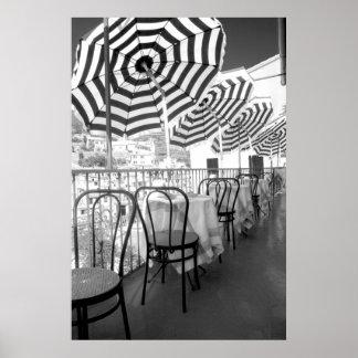 Póster Mesas preto e branco do restaurante