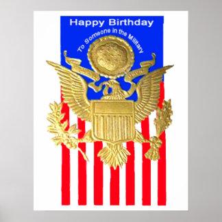 Poster militar do cartão de aniversário de WWII Pôster