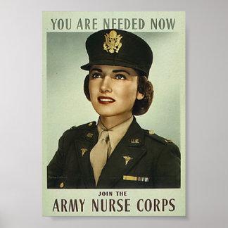 Poster militar do corpo de enfermeira do vintage