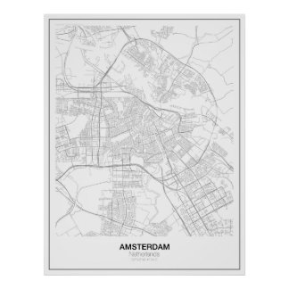 Poster minimalista do mapa de Amsterdão (estilo 2)