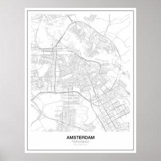 Poster minimalista do mapa de Amsterdão (estilo 2) Pôster