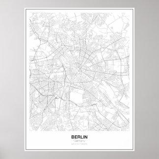 Poster minimalista do mapa de Berlim, Alemanha