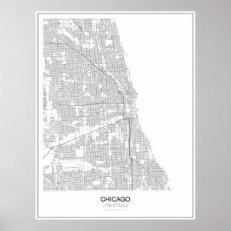 Poster minimalista do mapa de Chicago, os Estados