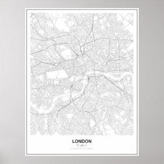 Poster minimalista do mapa de Londres (estilo 2)
