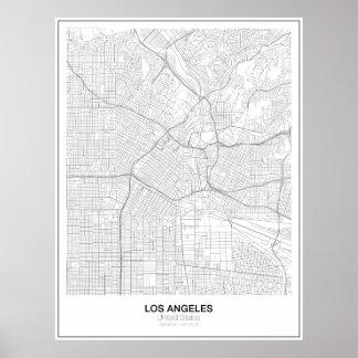 Poster minimalista do mapa de Los Angeles (estilo