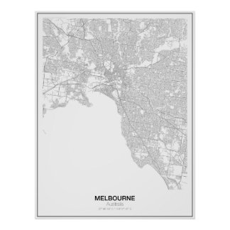 Poster minimalista do mapa de Melbourne, Austrália