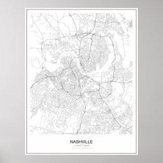 Poster minimalista do mapa de Nashville, os