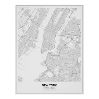 Poster minimalista do mapa de New York