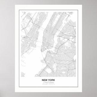 Poster minimalista do mapa de New York com margem Pôster
