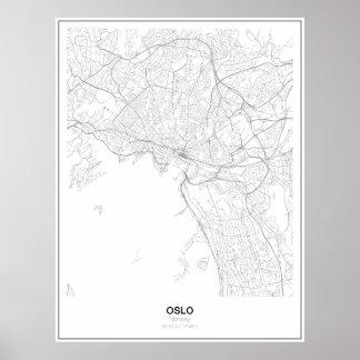 Poster minimalista do mapa de Oslo, Noruega