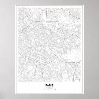 Poster minimalista do mapa de Paris, France Pôster