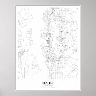 Poster minimalista do mapa de Seattle, os Estados Pôster