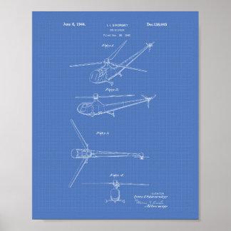 Poster Modelo da arte da patente do helicóptero 1944