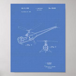 Póster Modelo da arte da patente do helicóptero 1948