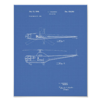 Poster Modelo da arte da patente do helicóptero 1948
