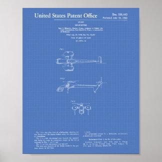 Poster Modelo da arte da patente do helicóptero 1960