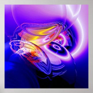 Poster moderno azul da arte abstracta