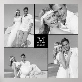 Poster moderno da colagem da foto do casamento do pôster