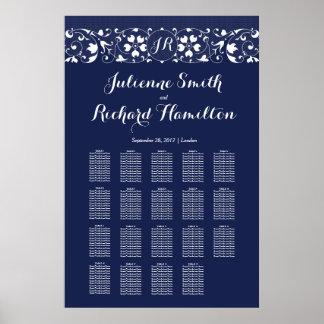 Póster Monograma do laço   que Wedding 19 mesas que