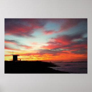 Póster Nascer do sol na praia de Newport, CA