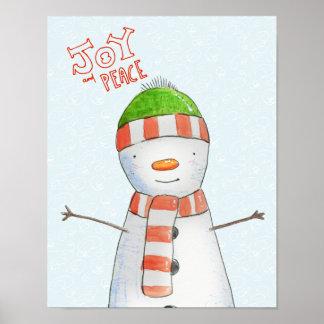 Poster Natal bonito do boneco de neve da alegria e da paz