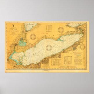 Poster náutico da carta de 1918 históricos o Lago  Pôster