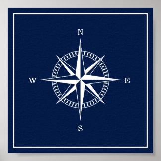 Poster náutico da estrela - azuis marinhos e