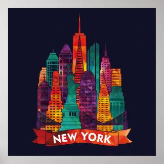 Póster New York - viagem aos marcos famosos