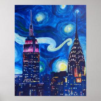 Poster Noite estrelado em inspirações de New York - de