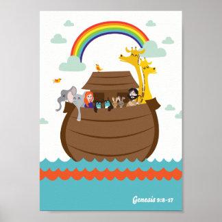Póster O cristão feliz caçoa a arca de Noah da história